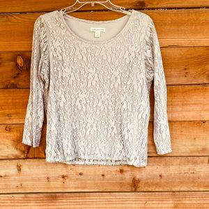 Coldwater Creek lace 3/4 sleeve grey blouse